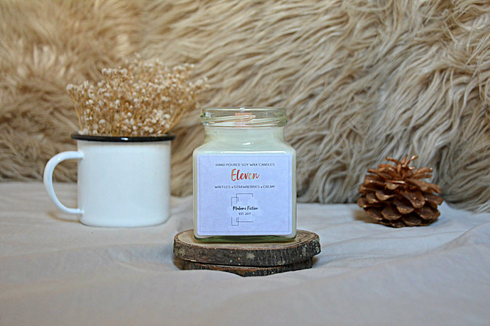 Eleven - 8oz Candle - Stranger Things Inspired - Scented Soy Candle - Book Lover