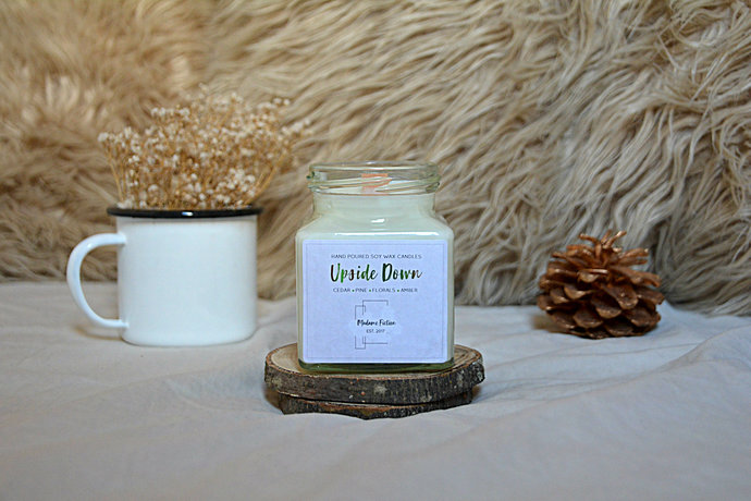 Upside Down - 8oz Candle - Stranger Things Inspired - Scented Soy Candle - Book
