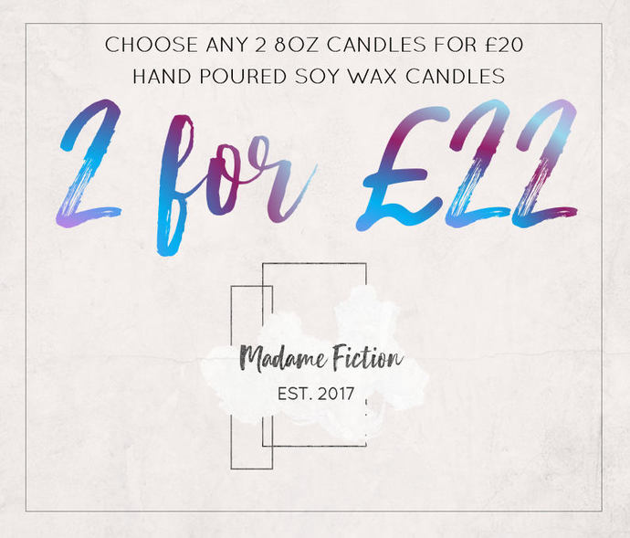 Two Candle Deal - 2 x 8oz Candle - Fiction Inspired - Scented Soy Candle - Book