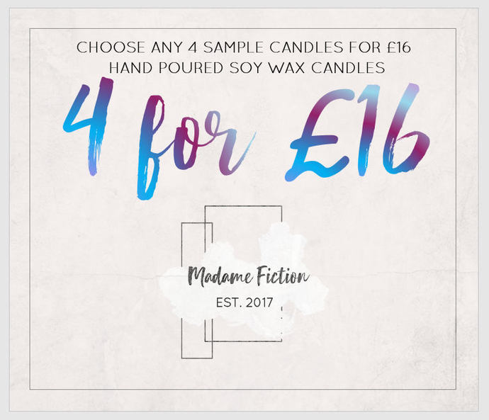 Sampler Set - 4 x 1.5oz Candle - Fiction Inspired - Scented Soy Candle - Book