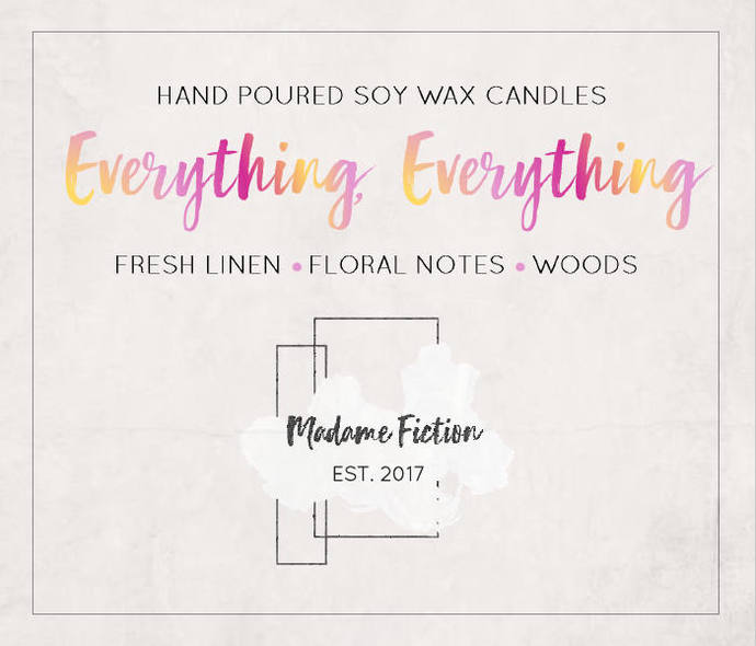 Everything, Everything - 4oz Candle - Nicola Yoon - Scented Soy Candle - Book