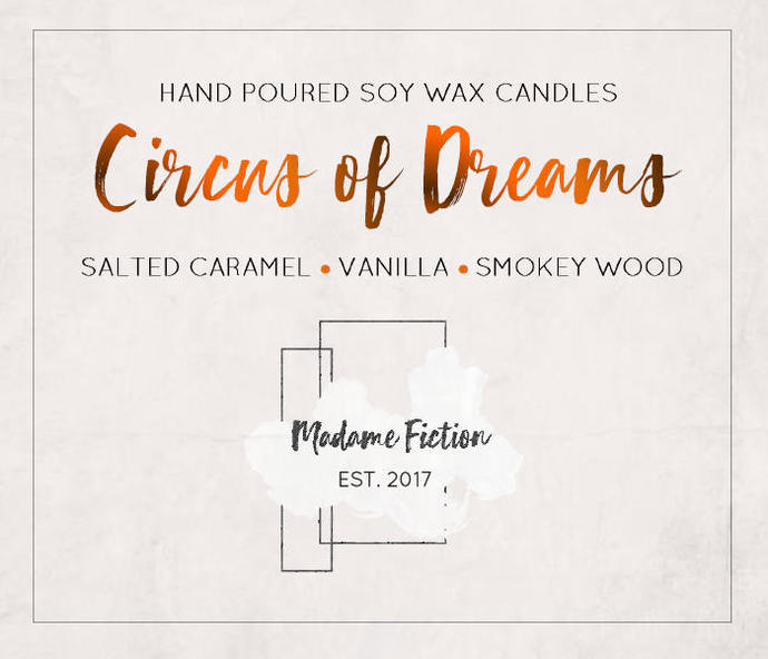 The Circus of Dreams - 8oz Candle - The Night Circus - Scented Soy Candle - Book