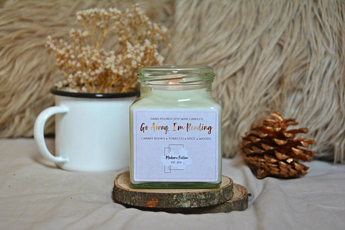 Go Away, I'm Reading - 8oz Candle - Bookish Candle - Scented Soy Candle - Book