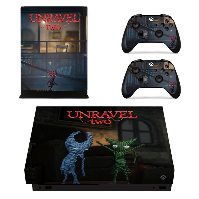 Unravel Two xbox one X skin decal for console and 2 controllers