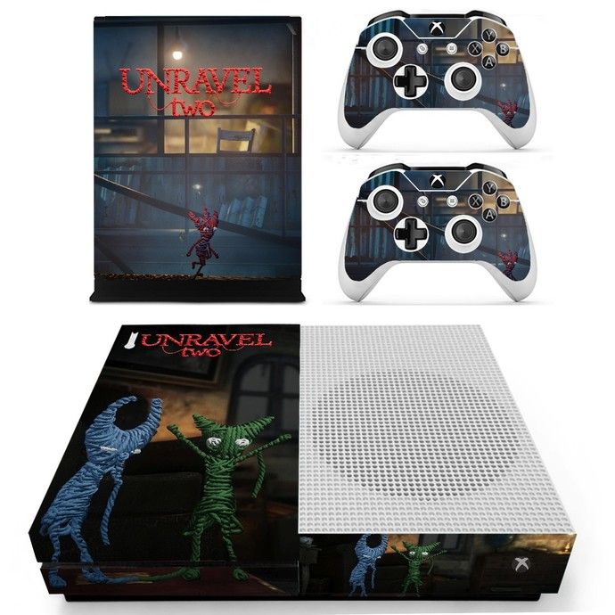 Unravel Two decal skin for xbox one S console and 2 controllers