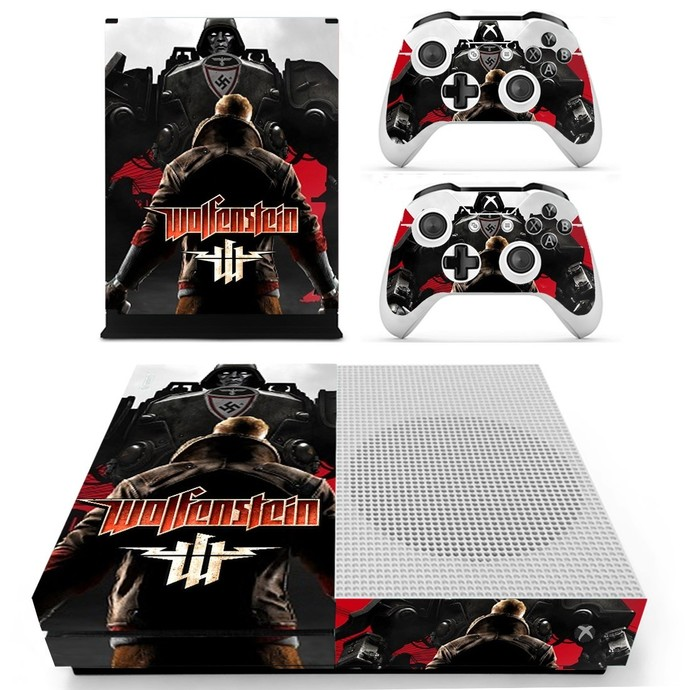 Wolfenstein decal skin for xbox one S console and 2 controllers