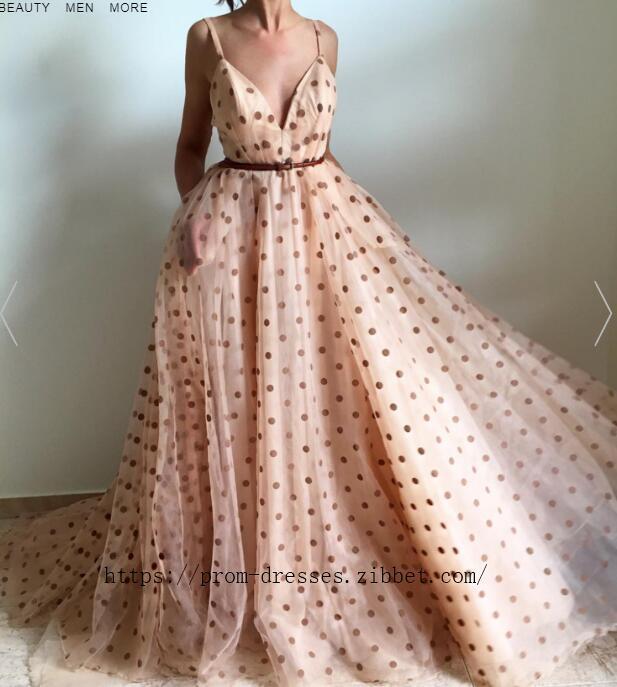 Charming Sexy Spaghetti Straps ,V Neckline ,A Line Prom Dress , Floor Length,Dot