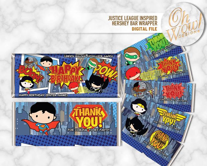 Justice League Theme Candy Bar Wrapper: Digital File