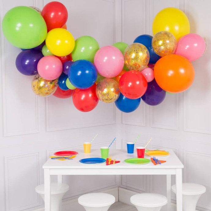 Rainbow Bright Colour Balloon Garland Kit - DYI 56 piece set