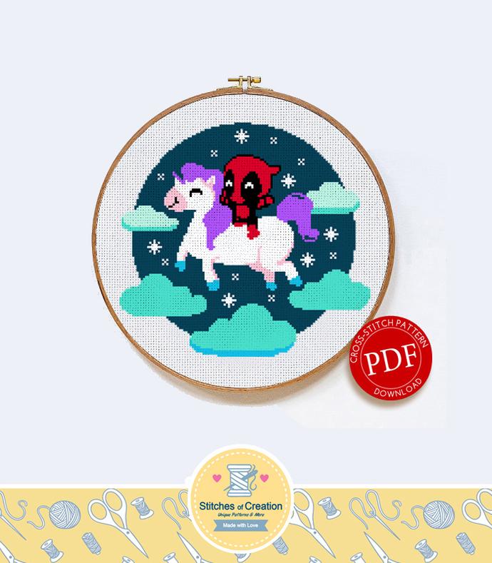 Deadpool on a Unicorn   Digital Download   Cross Stitch Pattern  