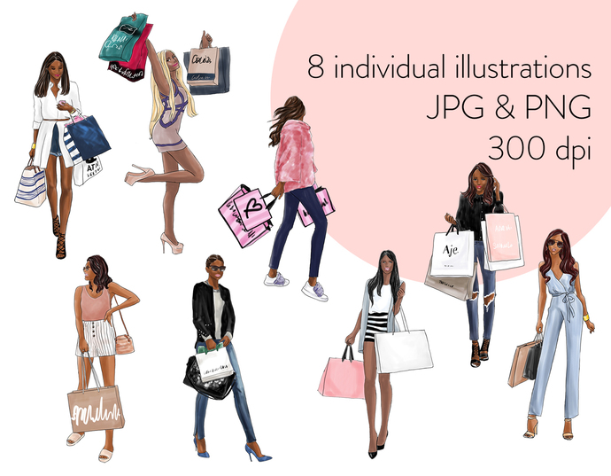 Watercolour fashion illustration clipart - Shopping Girls 2 - Dark Skin