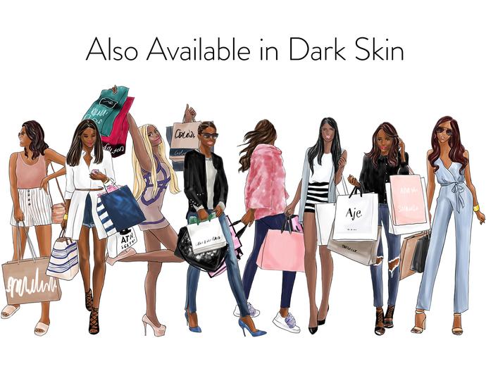 Watercolour fashion illustration clipart - Shopping Girls 2 - Light Skin