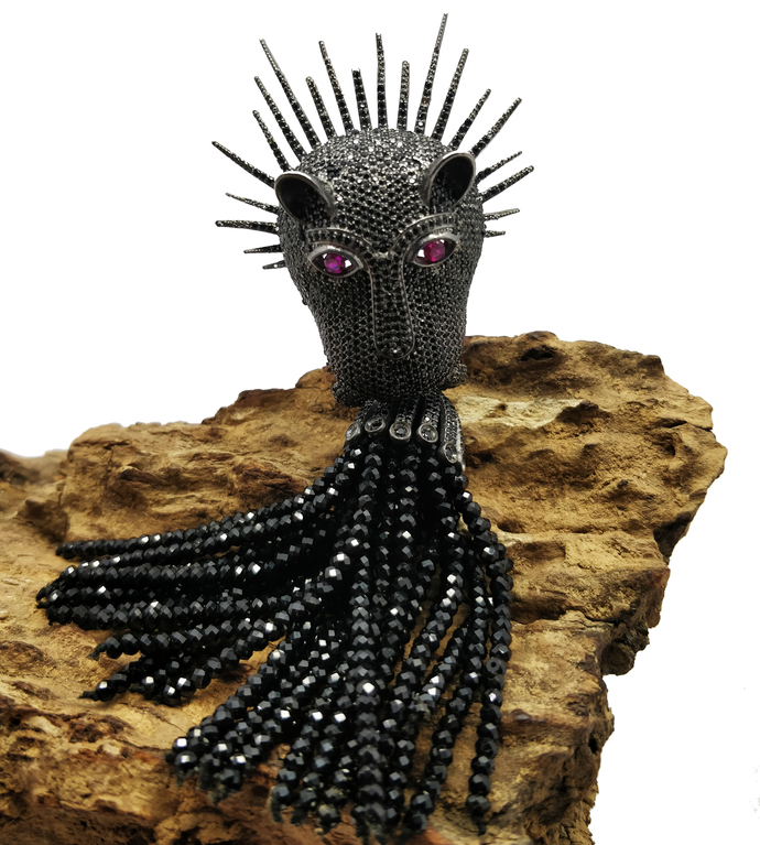 925 Sterling Silver Gemstone Black Spinel Panther Beaded Pendant  Jewelry .