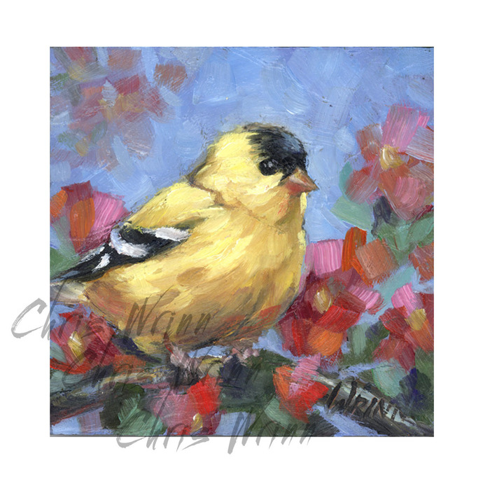 Goldfinch Original Oil Painting on 4x4\
