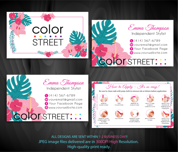 Color Street Application Cards, Personalized Color Street Business Card, Color