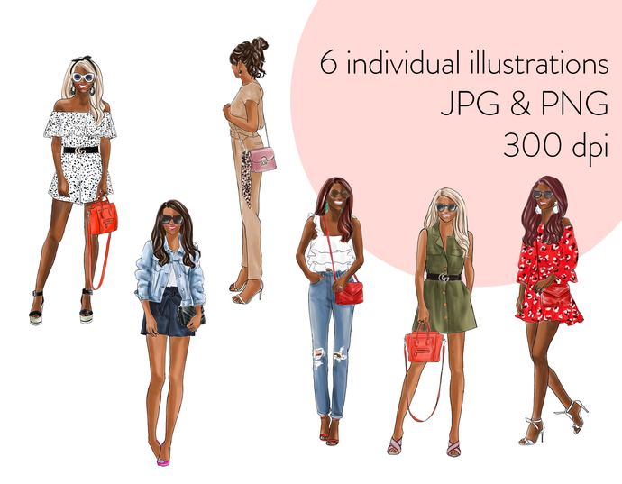 Watercolour fashion illustration clipart - Fashion Girls 20 - Dark skin