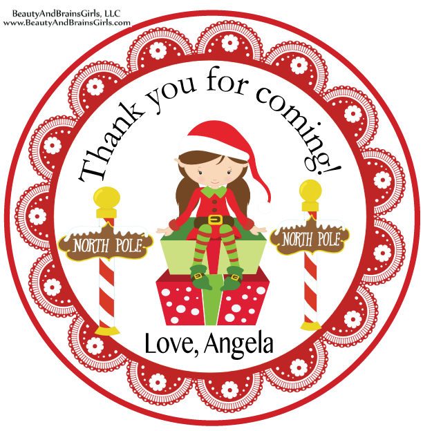SAMPLE IS ATTACHED! Christmas Sticker Tags- Birthday Party Favor  Treat Tag