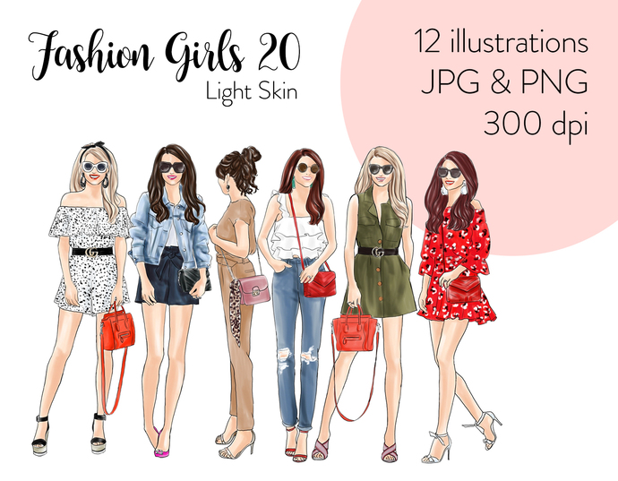 Watercolour fashion illustration clipart - Fashion Girls 20 - Light Skin