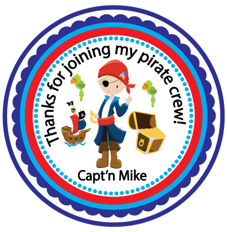 DIY  SAMPLE IS ATTACHED! Pirate  Sticker Tags- Birthday Party Favor  Treat Tag