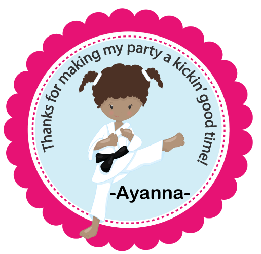 Copy of  DIY  SAMPLE IS ATTACHED! Sticker Karate Darker Tone Tags- Birthday