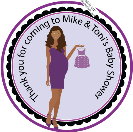 SAMPLE IS ATTACHED! Baby Shower Darker Tone Favor Sticker Tags- Birthday Party