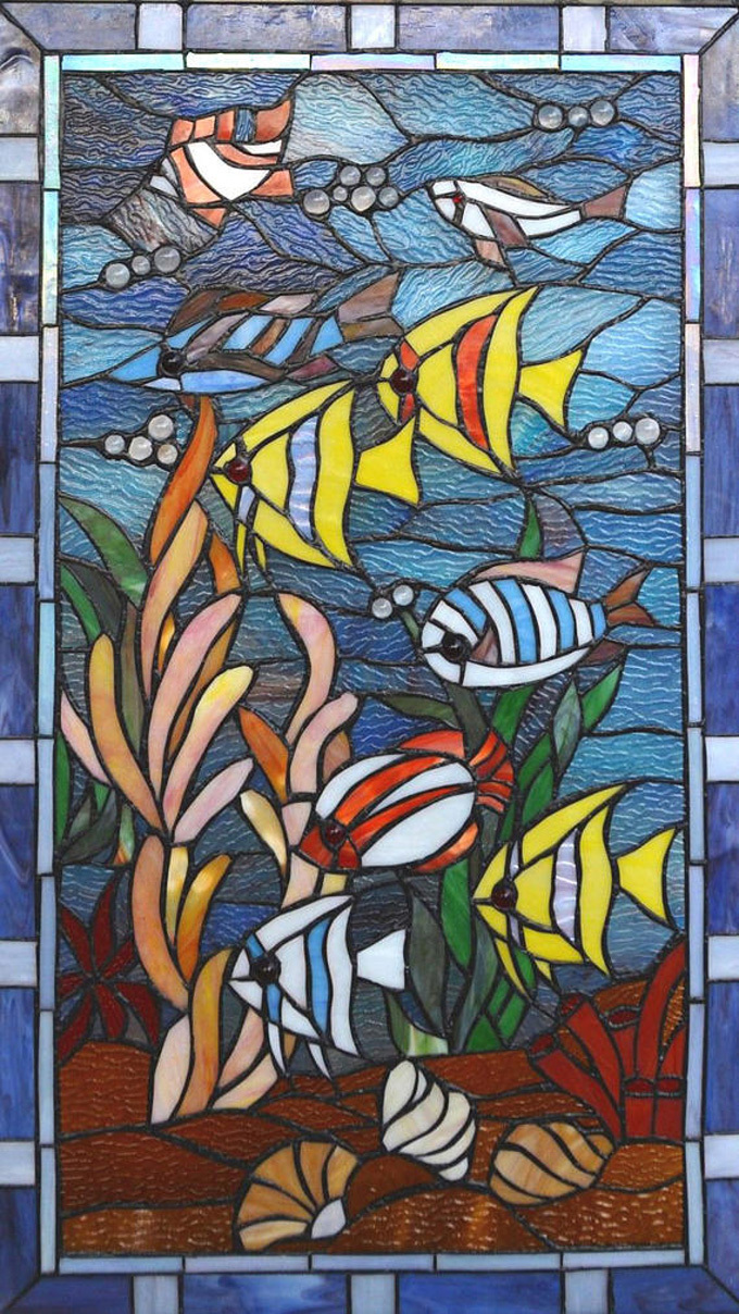 Stained Glass Fish Cross Stitch Pattern***LOOK*** INSTANT***DOWNLOAD***