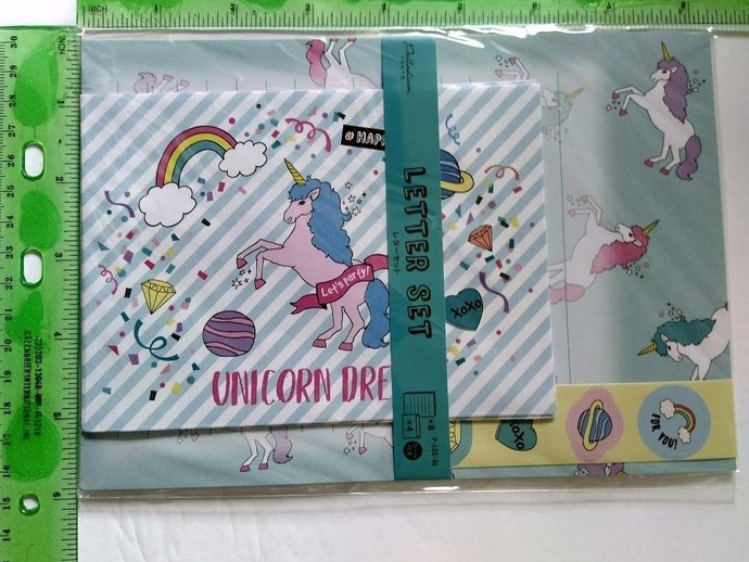 Cute Kawaii unicorn letter set stationary envelope sticker