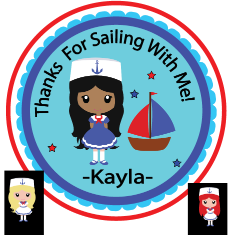 Sailor Darker Tone Party Favor Theme- Printable Party Favor Birthday- Tag Gift