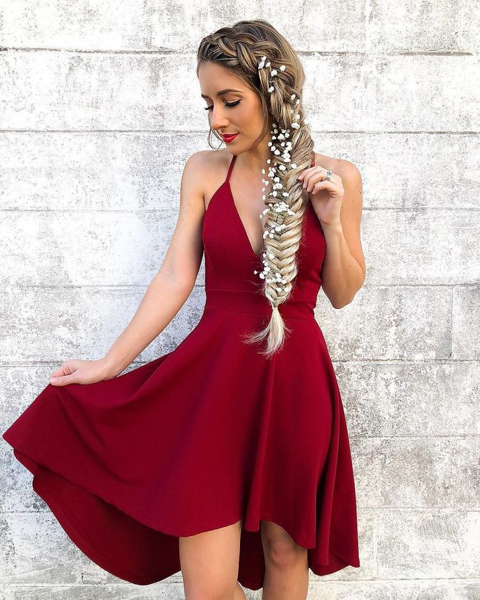Red Short V-Neck Dress