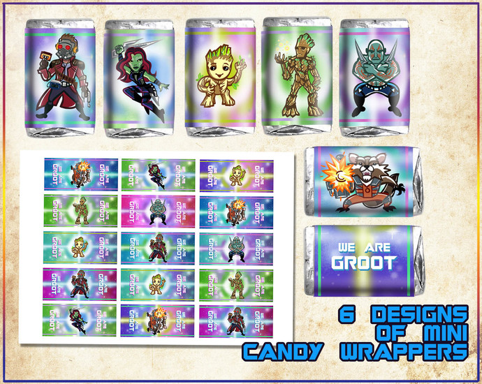Groot party printable favor box, Guardians of the galaxy birthday party, I am