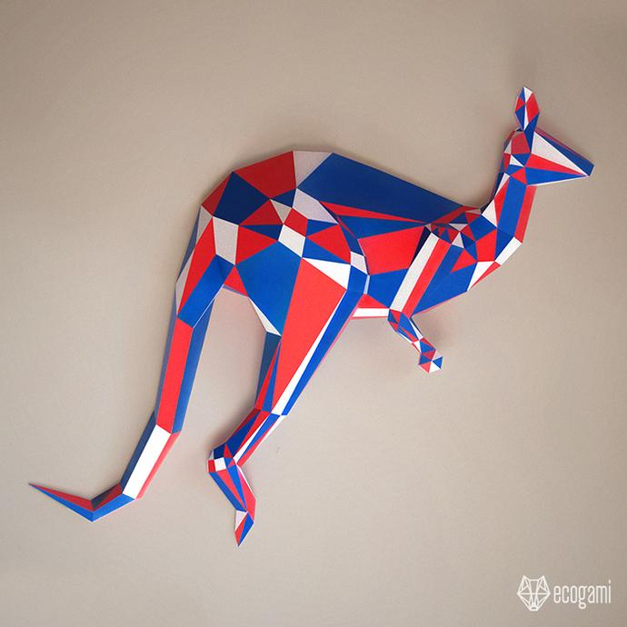 Make your own kangaroo papercraft | DIY wall mount | 3D kangaroo papercraft