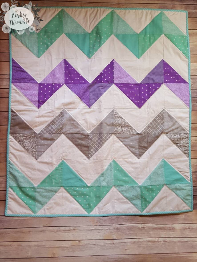 Chevron Baby Quilt Baby Girl Quilt By Theperkythimble On Zibbet