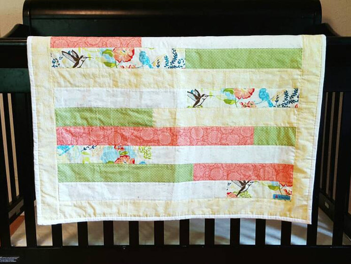 ... free shipping, ready gift. by ThePerkyThimble. SALE, Mini crib quilt, Small Baby Quilt, Coral Baby quilt, Girl Blanket