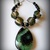 Green and Black Agate Pendant Necklace