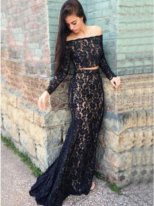 6bd31dc79a34 2019 New Arrival Two Pieces Lace long prom dress, evening dress,prom dresses  G11