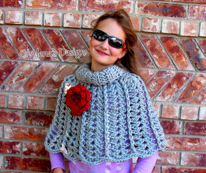 Crochet Pattern 111 Chic Rose Poncho Wrap By Alenasdesign On Zibbet