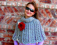 8bf473e62f1 Crochet Pattern 111 Chic Rose Poncho Wrap Cowl Neck Warmer Child 4