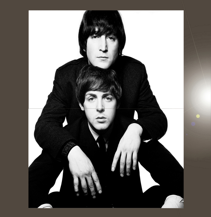 "John Lennon Paul McCartney  Bundle of 2 Polyester Fabric Posters (13""x19"" or"