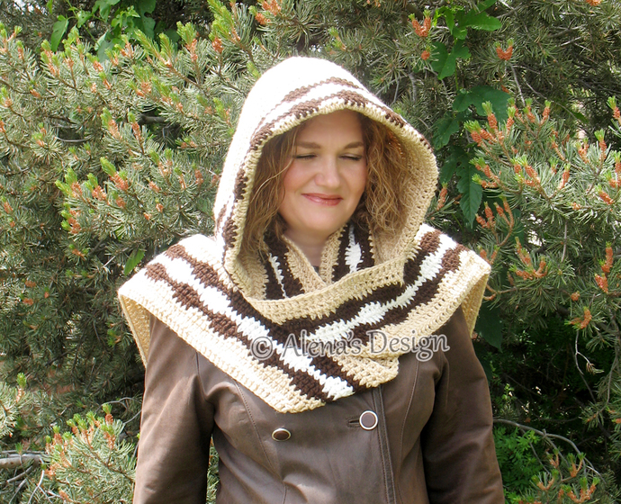 Crochet Pattern 183 Colored Hooded Scarf By Alenasdesign On Zibbet