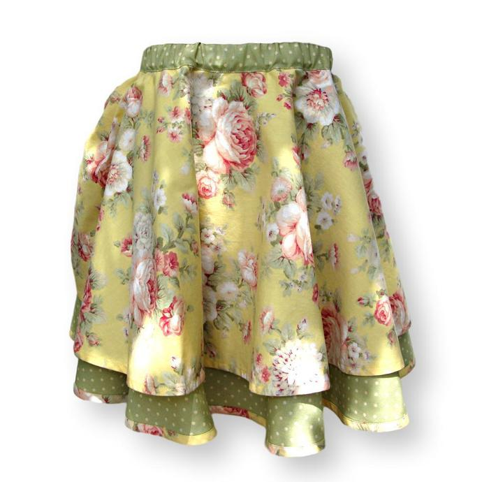 Girls Circle Skirt With Pull-On Elastic Waist. Child's Size 6