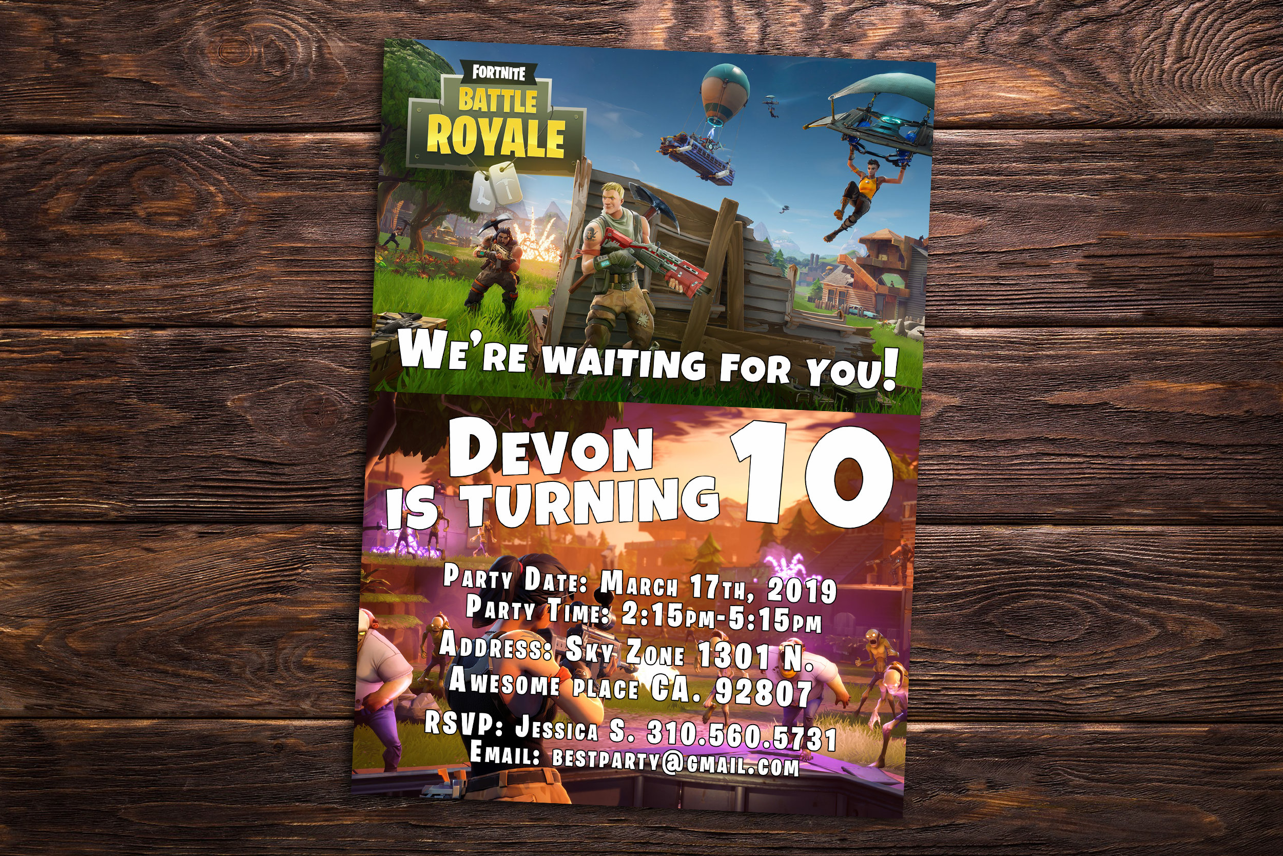 Fortnite Battle Royale Birthday Party Invitation - Personalized Fortnite  Gift Card - Birthday Printables and Fortnite Party Suuplies