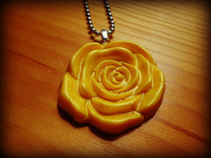Large Yellow Rose Cabochon Pendant - Comes on a  Ball Chain