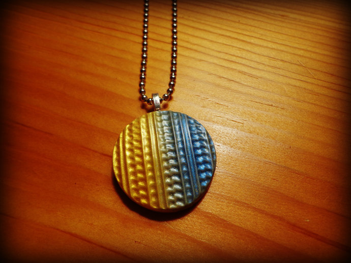 Yellow and Blue Round Textured Clay Cabochon Pendant - Comes on a ball chain