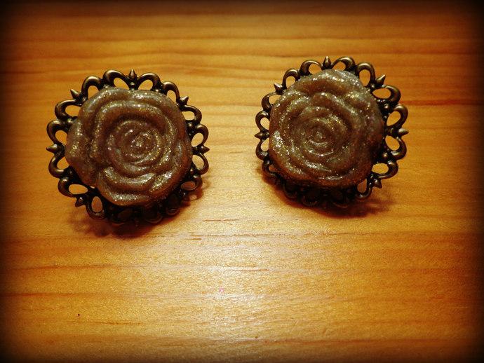 Greige Glittery Rose Cabochon Earrings - Antique Brass - Grey - Beige