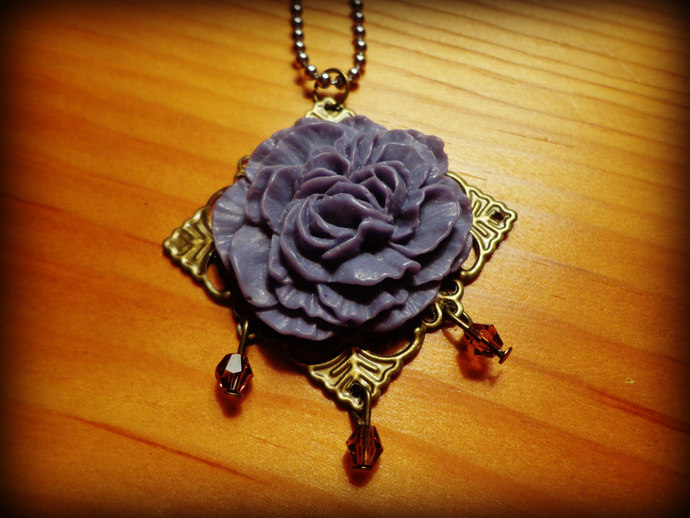 Purple Cabbage Rose Cabochon Pendant - Antique Brass - Beaded - comes on a ball