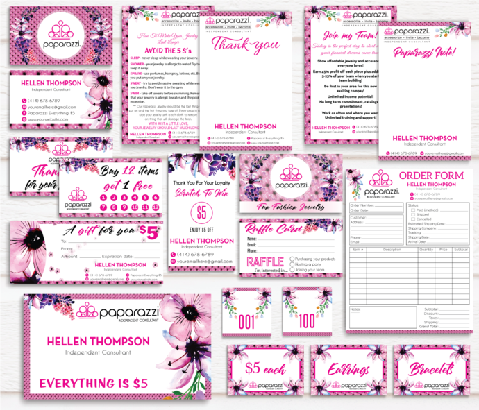 Paparazzi Marketing Kit, Floral Paparazzi card, Personalized Paparazzi Marketing