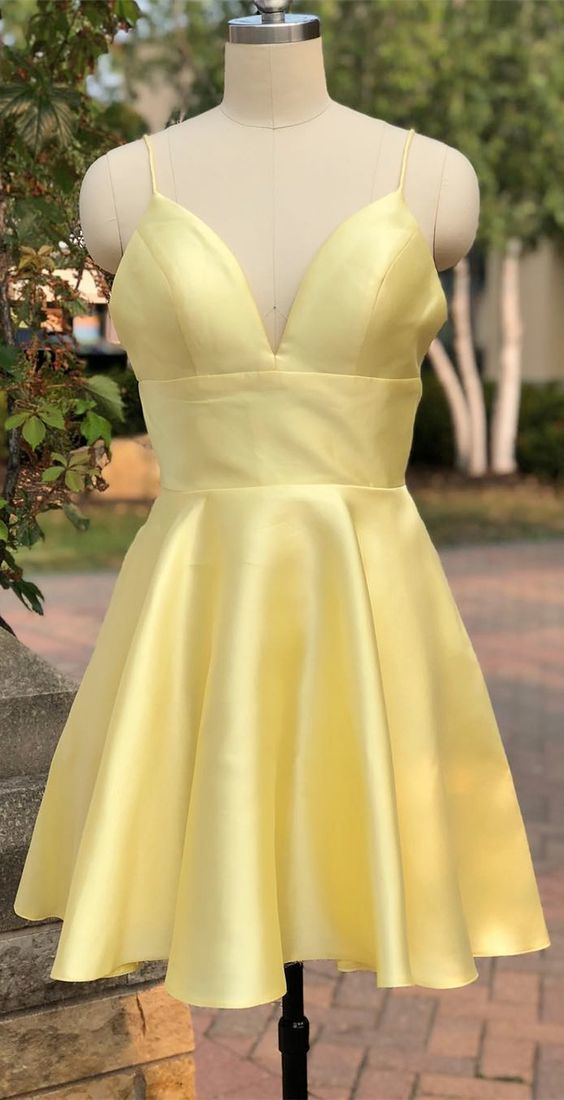 Yellow Cute Straps Prom Dress, Satin Homecoming Dress for Teens