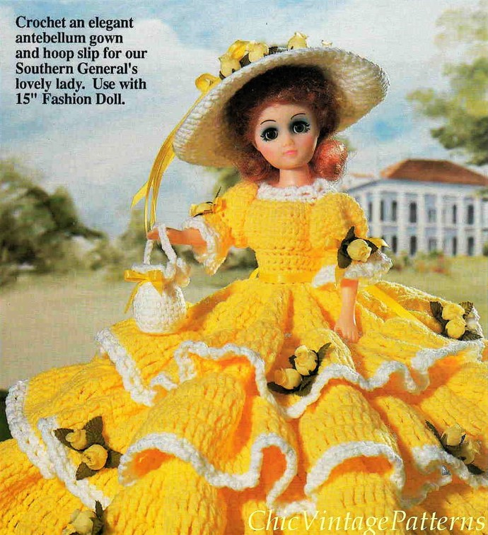 Dolls Dress Pattern ... PDF Crochet by ChicVintagePatterns on Zibbet