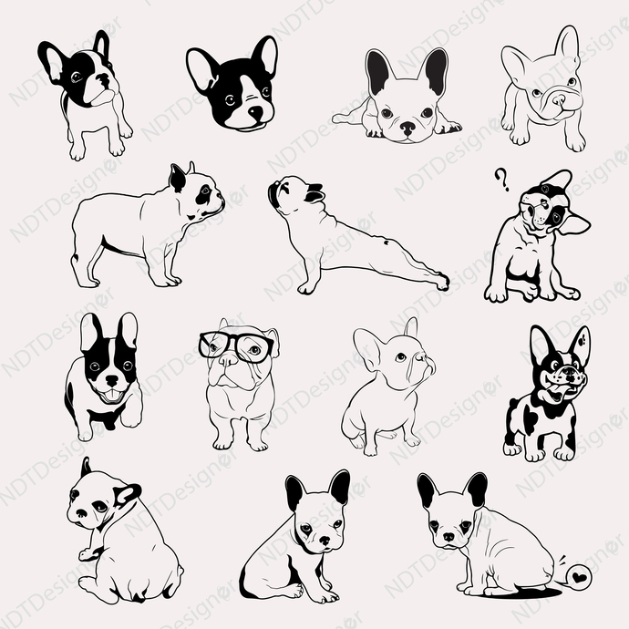 French bulldog  Svg/Eps/Png/Jpg/Cliparts,Printable, Silhouette and Cricut File