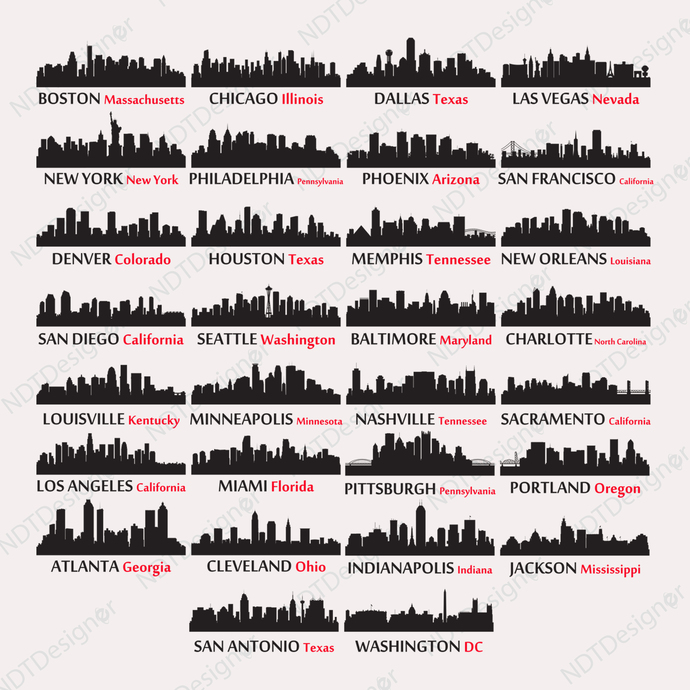 US City Skyline #1 Svg/Eps/Png/Jpg/Cliparts,Printable, Silhouette and Cricut